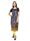 Enchanted Drapes Wome's Grey Digital Printed Cotton Kurti