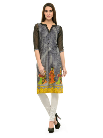 Enchanted Drapes Women's Grey Digital Cotton Kurti