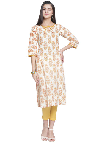 Enchanted Drapes Women's Cream Printed Cotton Kurti