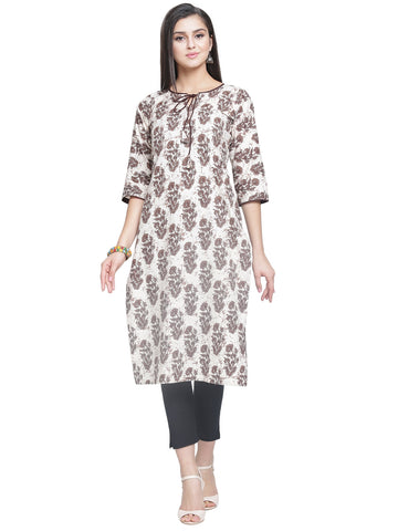 Enchanted Drapes Women's Brown Cotton Kurti