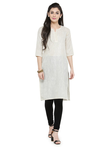 Enchanted Drapes Women's Offwhite Cotton Kurti