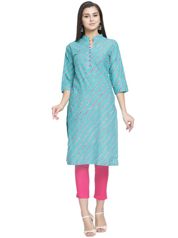 Enchanted Drapes Women's Blue Lehriya Cotton Kurti