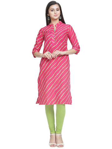 Enchanted Drapes Women's Pink Cotton Kurti