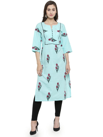 Enchanted Drapes Women's Sky Blue Cotton Kurti