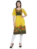 Enchanted Drapes Women's Yellow Cotton Kurti