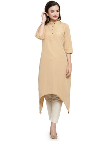 Enchanted Drapes Women's Beige Cotton Kurti