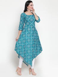 Enchanted Drapes Women's Turquoise  Cotton A Line Kurti