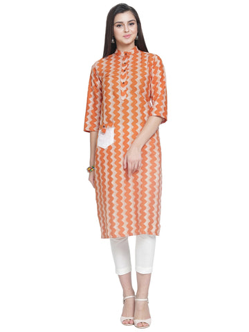 Enchanted Drapes Women's Orange Zig Zag Cotton Kurti