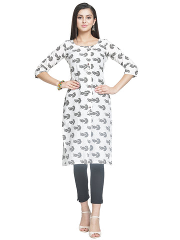 Enchanted Drapes Women's White Black Cotton Kurti