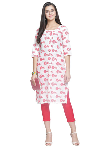 Enchanted Drapes Women's White Red Cotton Kurti