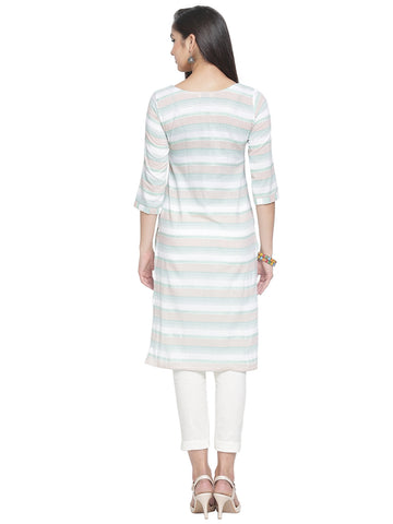 Enchanted Drapes Women's White Green Stripes Cotton Kurti