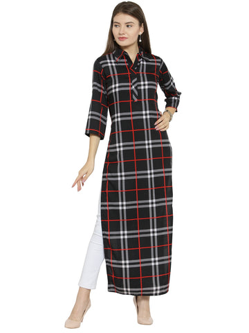 Enchanted Drapes Black Red Check Women's Crepe Kurti