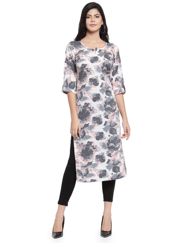 Enchanted Drapes Grey Printed Women's Crepe Kurti