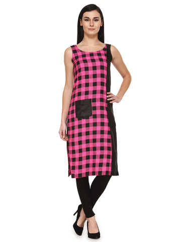 Enchanted Drapes Pink Cheque Women's Crepe Kurti