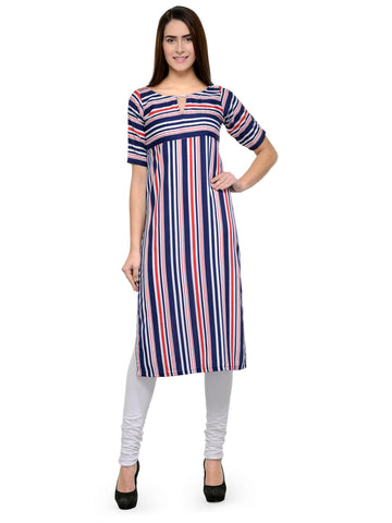 Enchanted Drapes Blue Stripes Women's Crepe Kurti