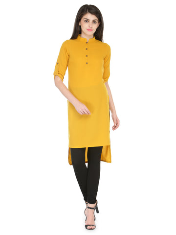 Enchanted Drapes Mustard Plain Women's Crepe Kurti