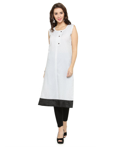 Enchanted Drapes White Printed Women's Crepe Kurti
