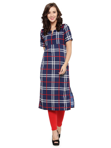 Enchanted Drapes Blue Cheque Women's Crepe Kurti