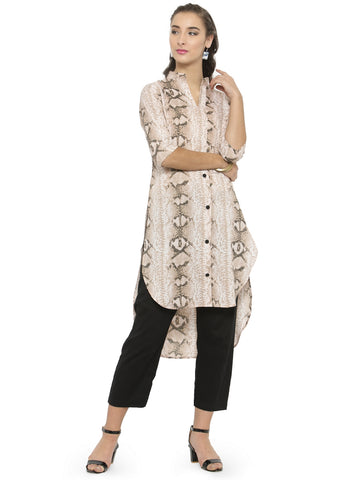 Enchanted Drapes Leopard Printed Women's Crepe Kurti