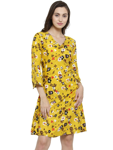 Enchanted Drapes Yellow Printed Women's Crepe Kurti