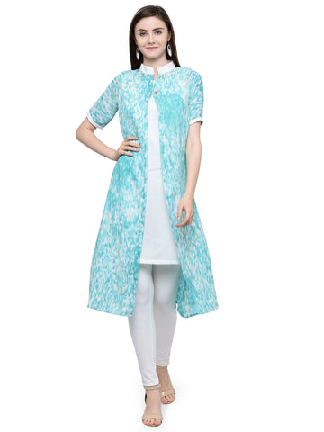 Enchanted Drapes Women's Sea Green Printed Goergette Kurti