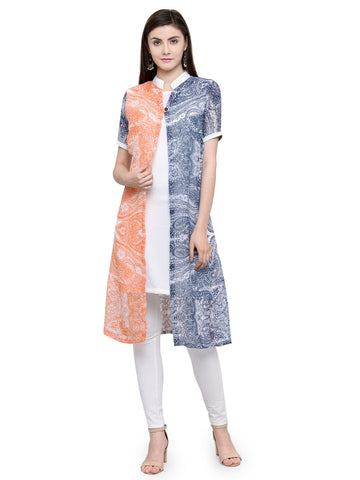 Enchanted Drapes Women's Blue Orange Printed Georgette Printed Kurti