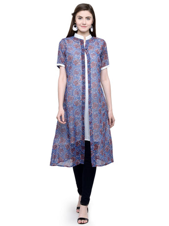 Enchanted Drapes Women's Blue Printed Goergette Kurti