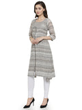Enchanted Drapes Women's Grey Printed Georgette Kurti