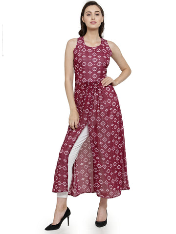 Enchanted Drapes Women's Pink Printed Georgette kurti