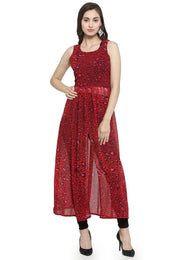 Enchanted Drapes Women's Red Leopard Printed Georgette Kurti