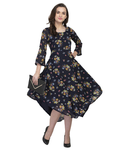 Enchanted Drapes Women's Navy Blue Printed Georgette Kurti