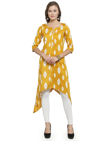 Enchanted Drapes Women's Yellow Printed Rayon Kurti