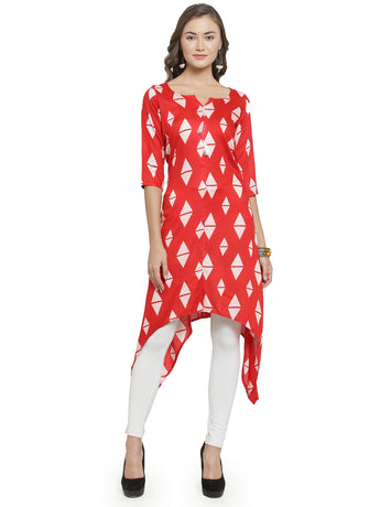 Enchanted Drapes Women's Red Printed Rayon Kurti