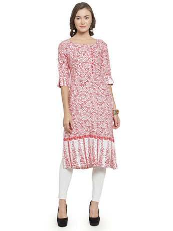 Enchanted Drapes Women's Red White Printed Rayon Kurti