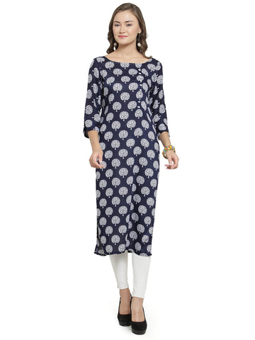 Enchanted Drapes Women's Blue Printed Rayon Kurti