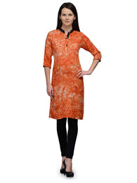 Enchanted Drapes Women's Orange Tie n Die Rayon Kurti