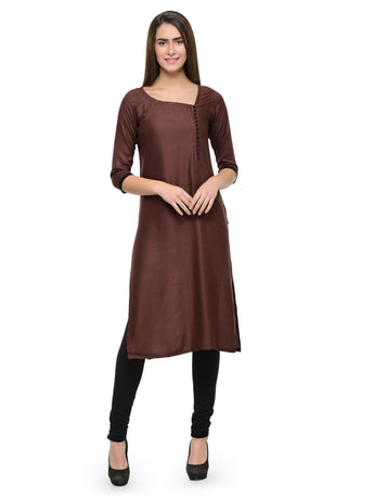 Enchanted Drapes Women's Brown Rayon Kurti