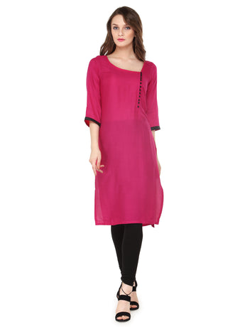 Enchanted Drapes Women's Pink Rayon Kurti