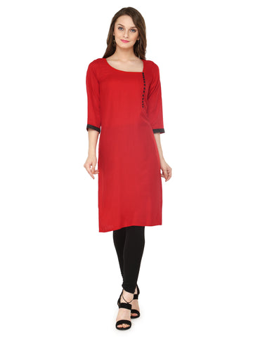 Enchanted Drapes Women's Red Rayon Kurti