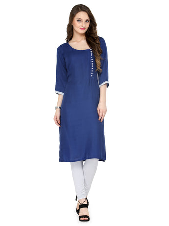 Enchanted Drapes Women's Blue Rayon Kurti