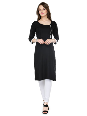 Enchanted Drapes Women's Black Rayon Kurti
