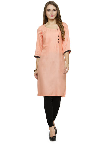 Enchanted Drapes Women's Peach Rayon Kurti