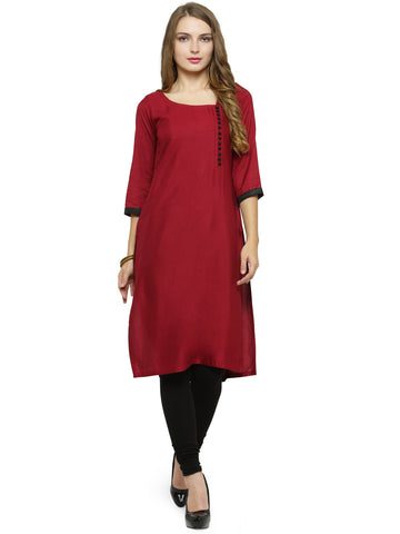 Enchanted Drapes Women's Maroon Rayon Kurti