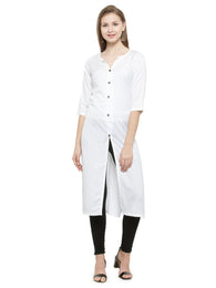 Enchanted Drapes Women's White Rayon Kurti