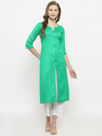 Enchanted Drapes Women's Green Rayon Kurti