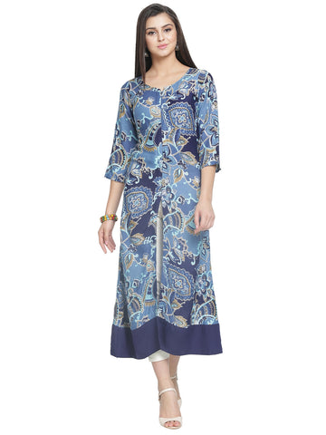 Enchnated Drapes Women's Blue Printed Rayon kurti
