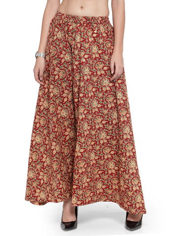 Enchanted Drapes Women's Maroon Jaipuri Printed Cotton Skirt