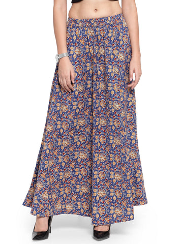 Enchanted Drapes Women's Purple Jaipuri Printed Cotton Skirt