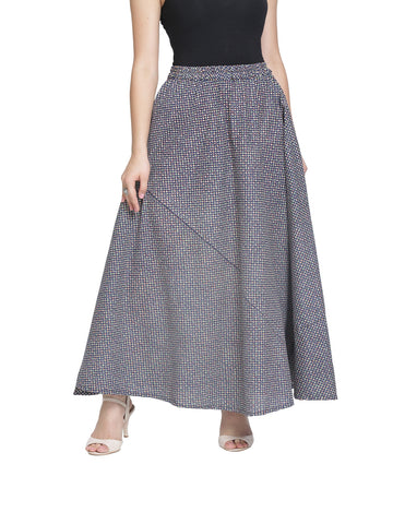 Enchanted Drapes Women's Navy Blue Dots Printed Jaipuri Cotton Skirt