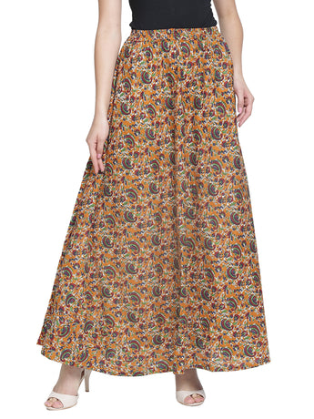 Enchanted Drapes Women's Multicolor Jaipuri Printed Cotton Skirt
